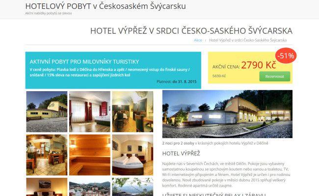 web s nabídkami hotelového pobytu