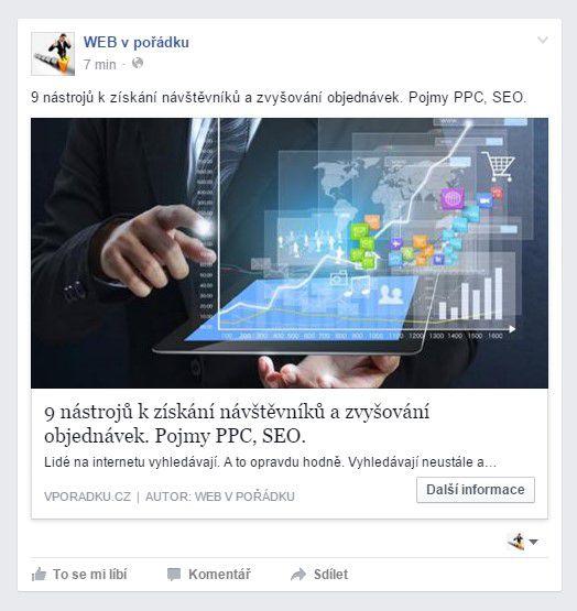 Příspevek na facebooku